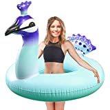 WISHTIME Adult Peacock Swim Pool Float Elegant Peacock Swimming Ring for Adult Summer Outdoor Inner Tube Swimming Toy (Adult Peacock)