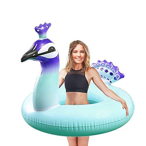 WISHTIME Adult Peacock Swim Pool Float Elegant Peacock Swimming Ring for Adult Summer Outdoor Inner Tube Swimming Toy (Adult Peacock)