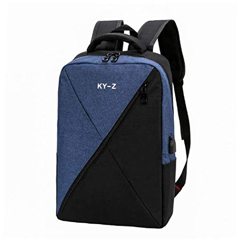 Laptop Backpack, Work Bag for Man&Woman,Fits 15.6 Inch Laptop, with Shoe Compartment, External USB Charging Port, Water Resistan,4 Colors Optional (Color : Blue, Size : One Size)