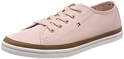 TOMMY HILFIGER Women's Iconic Pure Cotton Trainers Iconic Pure Cotton Trainers, Dusty Rose, 36 EU