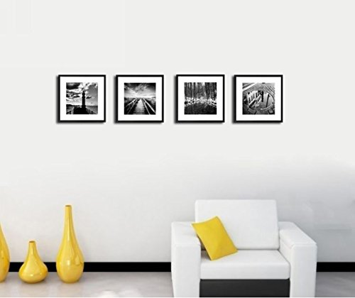 4Pcs x Black and White Famous Building Motivational Office Picture Photo Wood Black Frame Safe Lighter Plexiglass + White Mat Wall Modern Art Girl Gift Coffee Room Hall Deco 12×12″ (30x30cm) (109-112)