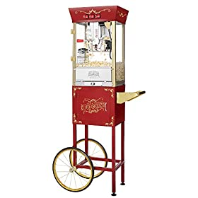Great Northern Popcorn Red Matinee Movie 8 oz. Ounce Antique Popcorn Machine and Cart