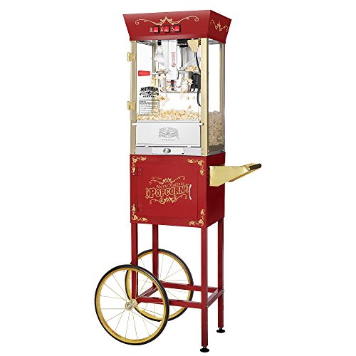 Black Vending Cart - Great Northern Popcorn Red Matinee Movie 8 oz. Ounce Antique Popcorn Machine and Cart