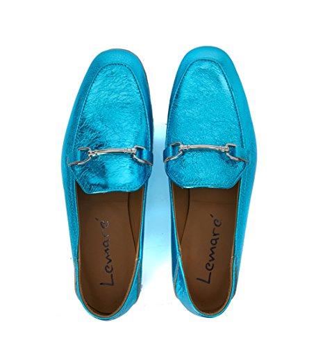 Mocasín Lemarè en piel efecto crac laminada azul claro Azul claro