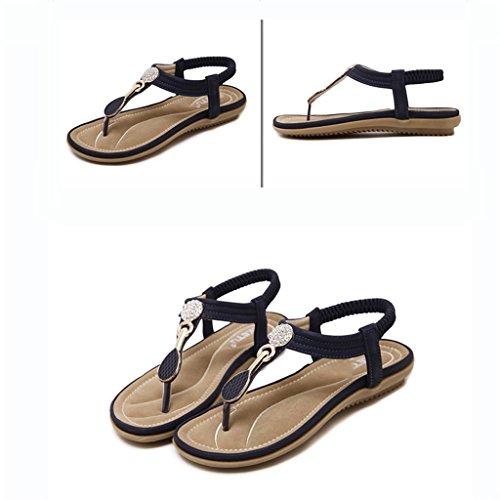 Firm Peep Bei Ocasionales 41 Xing Elásticas size zapatos Sandalias Diamante Planos zapatos toe Artificial Del La Correa De Bao Pie tqwFECE