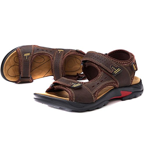 Velcro Outdoors Summer REETENE Beach Shoes for Sandals Sports Men's Straps Men Brown 5Y7xqrOwEq
