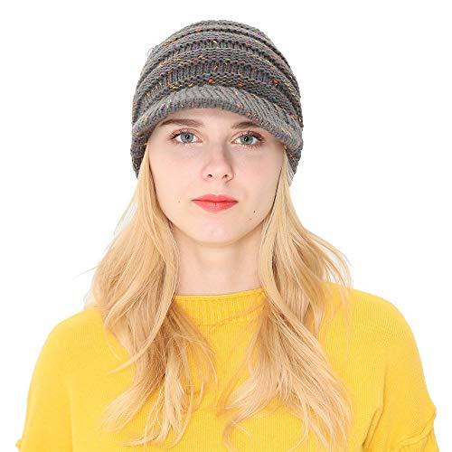 umn Winter Beanie Hat Knitting Wool Baseball Cap Earmuffs Hat(Free Size,Gray) ()