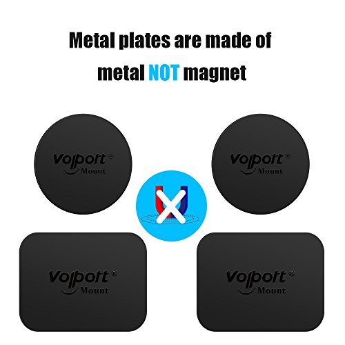 Mount Metal Plate, Volport 8 Pack Universal Metal Plate with Adhesive for Magnet Mount Magnetic Phone Car Mount Holder Cradle, 4 Rectangle and 4 Round (universal)