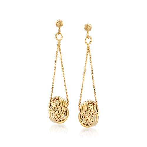 Ross-Simons Italian 18kt Yellow Gold Textured and Polished Love Knot Drop Earrings