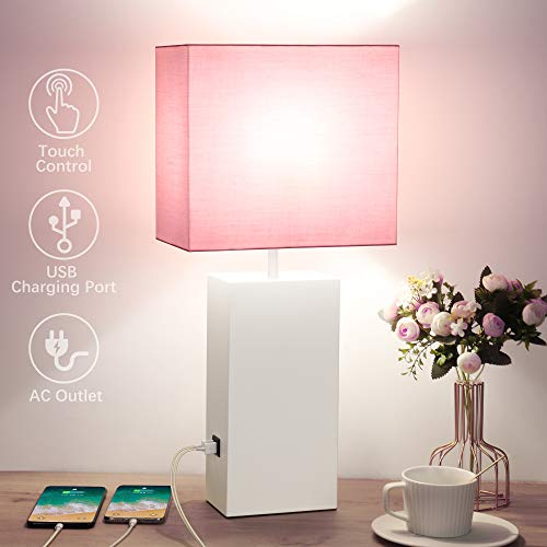 Touch Control Table Lamp, 2 USB Charging Ports, 3 Way Dimmable Bedside Nightstand Lamp with AC Outlet, Pink Shade, Metal…