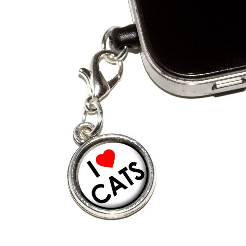 Graphics and More I Love Heart Cats Anti-Dust Plug Universal Fit 3.5mm Earphone Headset Jack Charm for Mobile Phones - 1 Pack - Non-Retail Packaging - Antiqued Silver by Graphics and More