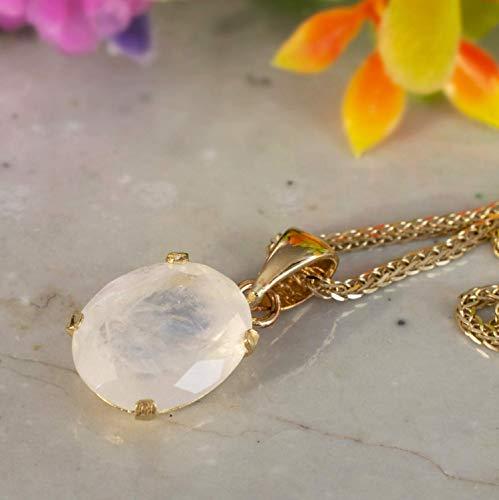14K Gold Moonstone Oval Necklace - 14K