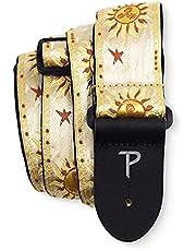"""Perri's Leathers | Gouden Tribal Suns Guitar Strap - Jacquard | 2"" breed, verstelbaar 39"" - 58"" lang (bas-, elektrische en akoestische gitaarband) Gold Tribal Suns"", TWS-7247"