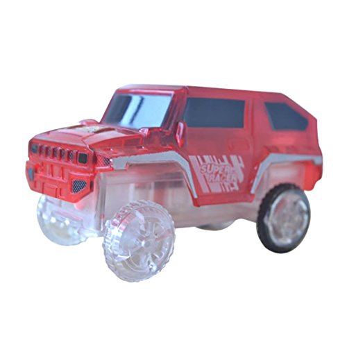 (Gbell Magic Track Car Toys with Flashing Lights - Electronics Vehicle Educational Toys for Kids Baby Boys Girls 2 Year Over, 8.6×4.6×4CM (Red))