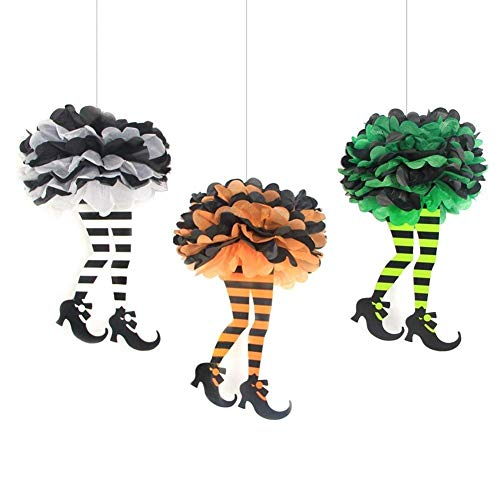 Tissue Paper Pom Poms Halloween Witch's Boot Party Hanging Decorations, Set of 3, Easy Joy -