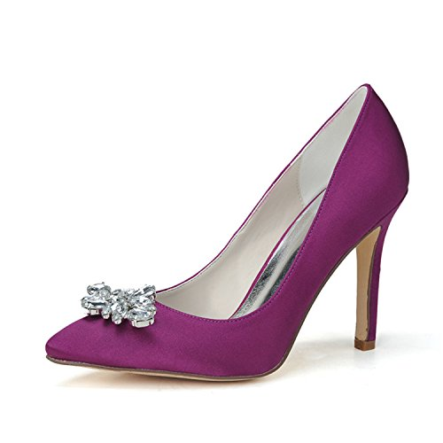Clearbridal Women's Pointed Toe Stiletto Pumps Heels Satin Wedding Shoes and Prom Shoes ZXF0608-05 Purple