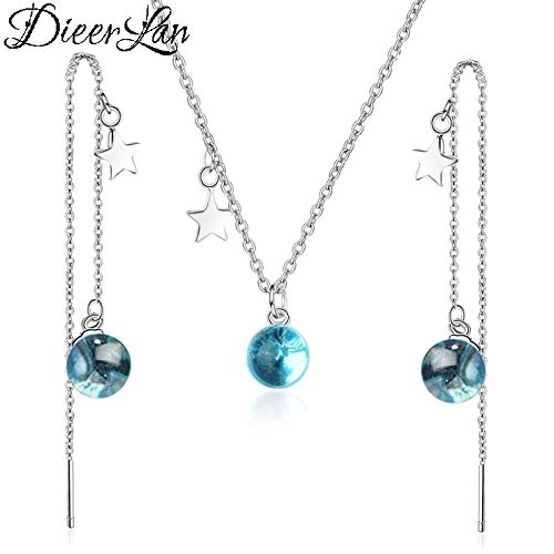 Fashion Luxury Jewelry Sets 925 Sterling Silver Long Star Necklaces Ladies Crystal Ball Earrings for Women Wedding Pendientes