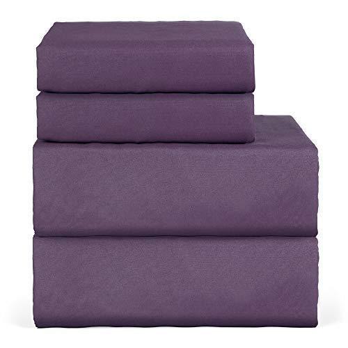 Oakome Parure de Lit 4 Pièces Drap Housse-Draps Plat-2 Taies d'oreiller 100% Polyester Kit de Literie Hypoallergénique (Carbon Gray, 230 * 260-150 * 200-50 * 75cm)