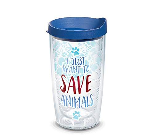 Tervis 1247354 Save Animals Tumbler with Wrap and Blue Lid 16oz, Clear by Tervis