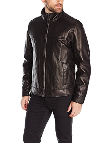 Tommy Hilfiger Men's Smooth Lamb Leather Stand Collar Jacket, Black, L