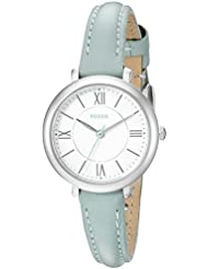 Fossil Womens ES3936 Mini Jacqueline Three-Hand Date Sea Glass Watch With Leather Band