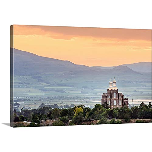 GREATBIGCANVAS Gallery-Wrapped Canvas Entitled Logan Utah Temple at Sunset, Mountain Valley, Logan, Utah by Scott Jarvie 18
