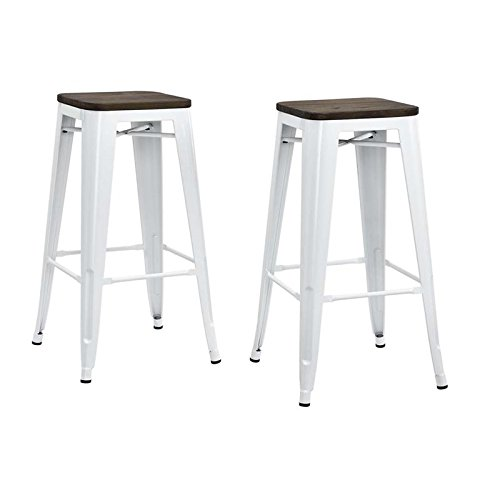 Wood Backless Bar Stools - 6