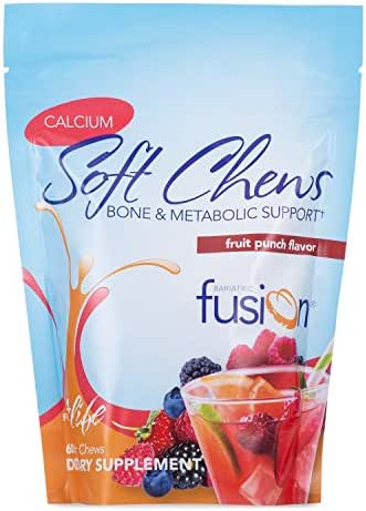 Bariatric Fusion 500mg Calcium Citrate & Energy Soft Chew Fruit Punch Flavor for Bariatric Surgery Patients Including Gastric Bypass and Sleeve Gastrectomy, 60 Count