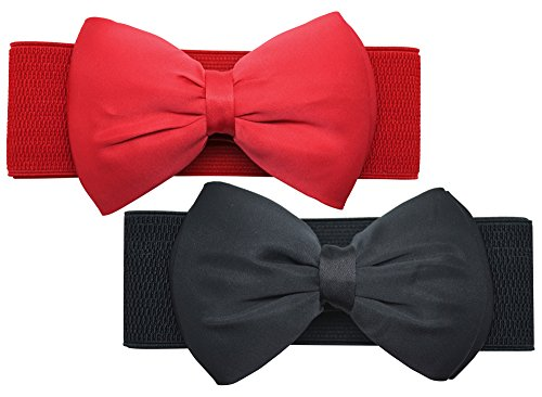 Meta-U Women Flower Elastic Wide Waist Belt (black bow & red bow) -