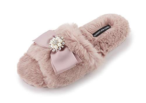 Pretty You London Women's Anya Slide Slipper with Bow and Rhinestone, XLarge (9.5-10.5), - Pretty Bow Rhinestone