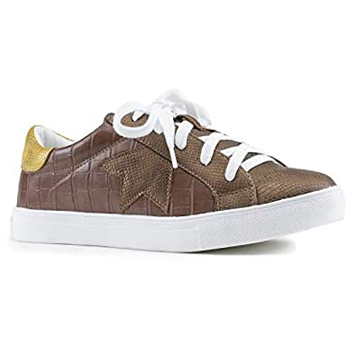RF ROOM OF FASHION Women's Casual Low Top Trendy Fashion Sneakers Flats Brown CORCO Size.5.5