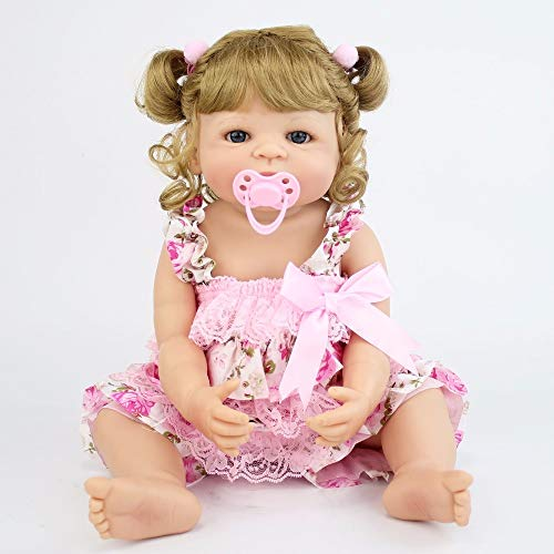 55cm Full Silicone Vinyl Reborn Baby Doll Princess Blonde Hair Realistic Newborn Bebe Alive Girl Birthday Gift Waterproof Bathe Toy