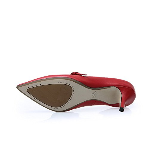 Allhqfashion Donna Punta A Punta Chiusa In Pelle Di Mucca Tacchi Alti Pompe Con Fibbie In Metallo Rosso