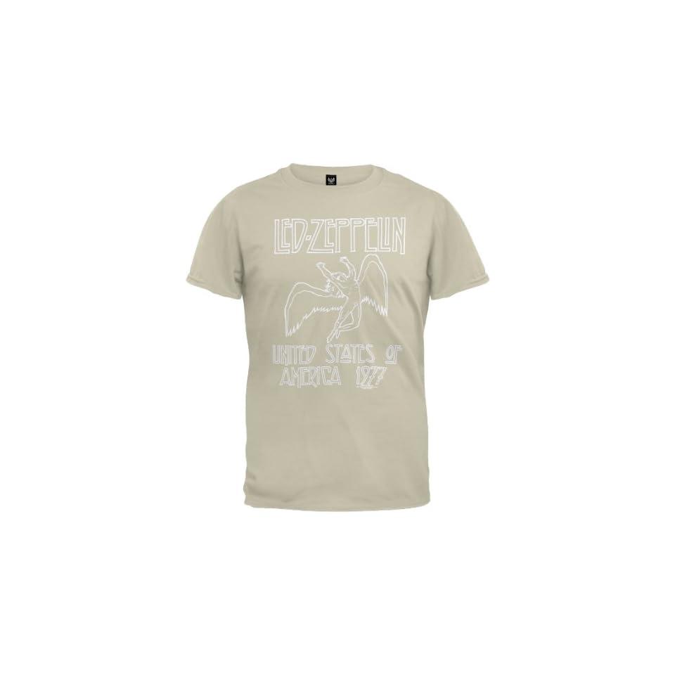 Led Zeppelin   Mens 1977 Beige T shirt X large Off white