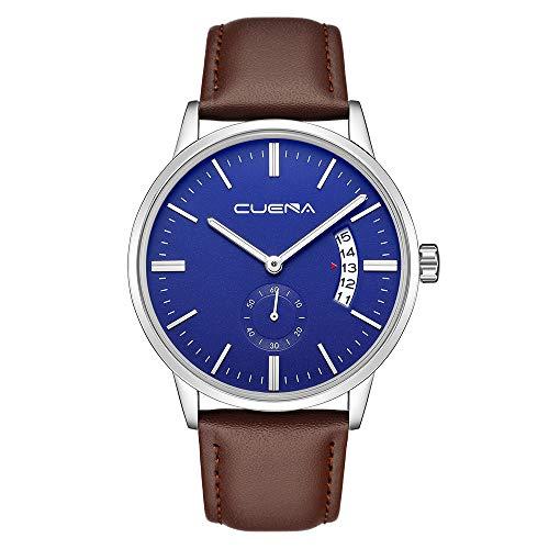 Willsa Military Leather Date Quartz Analog Army Men's Quartz Business Wrist Watches -