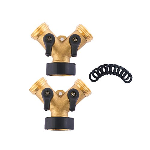 HQMPC Heavy Duty Brass Hose Y-Connector Two way valve with Shut-Off Valves Brass Hose Splitter (2)+10Pcs Pressure (Two Way Hose Connector)