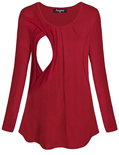 Annery Nursing Clothes Breastfeeding, Juniors Long Sleeve Maternity Tunic Feeding Shirt Cotton Double Layer Tops Pregnancy Nursing Outfits Women(Red,X-Large)