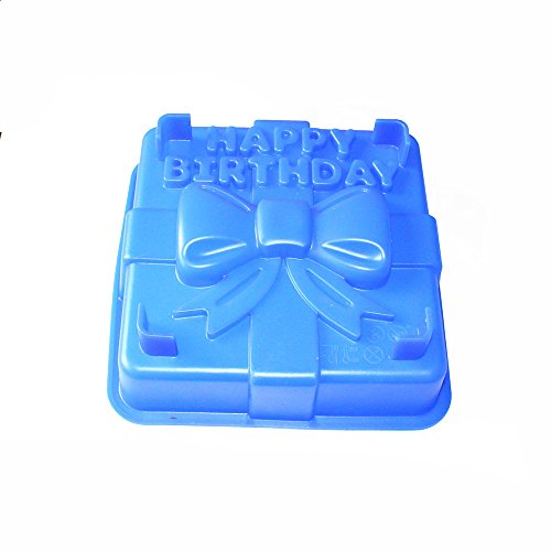 X-Haibei 8-inch Happy Birthday Gift Box Cake Pan Pizza Gelatinas Baking Silicone Square Mold