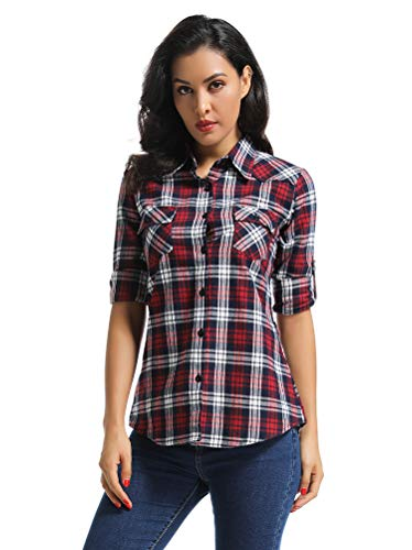 OCHENTA Women's Long Sleeve Button Down Plaid Flannel Shirt M039 Red Grid L