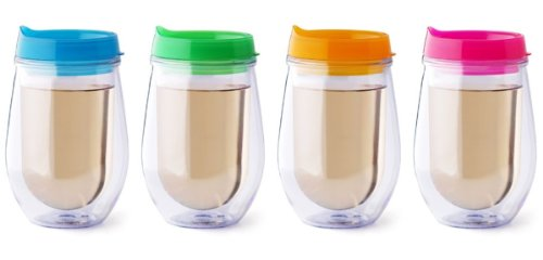 Bev2Go Insulated 10 oz Tumbler Stemless Wine Glass with Pastel Color Lids 4 Pack]()