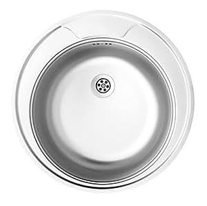 Fregadero redondo de la torcedura 1-tazón de fuente sin necesidad de drenaje de la placa, de acero inoxidable