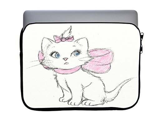 Aristocat Drawn Cute Disney Sketch Printed Design 13x10 inch Neoprene Zippered Laptop Sleeve Bag by Smarter Designs for Macbook or any other Laptop by Smarter Designs