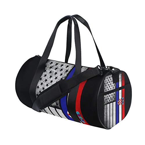 Sports Gym Bag with Croatian American Flag Print, Travel Weekender Duffle Bag for Men Women