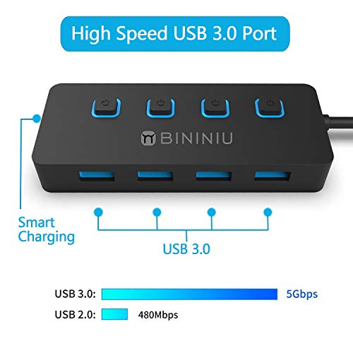 4-Port USB 3.0 hub Powered, BININIU USB 3.0 Data Hub Expander +1 USB Smart Charging Port, USB Splitter with Individual On/Off Switches and 5V AC Adapter for MacBook Air, Notebook,Laptop, PC, HDD, PS4