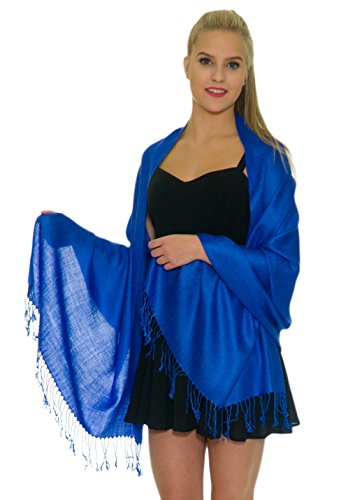 Pashmina Shawls and Wraps - Large Scarfs for Women - Party Bridal Long Fashion Shawl Wrap with Fringe Petal Rose Royal Blue