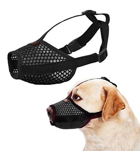 - Nylon Dog Muzzle - Anti-Biting Barking Secure Fit Dog Muzzle - Mesh Breathable Dog Mouth Cover for Small Medium Large Dogs (Medium, Black)