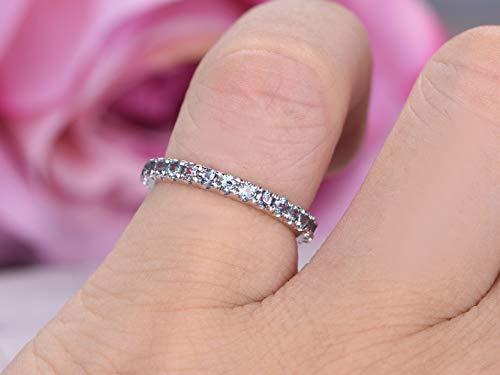 Alexandrite Wedding Band 3/4 Eternity Anniversary Ring 14K White Gold ()