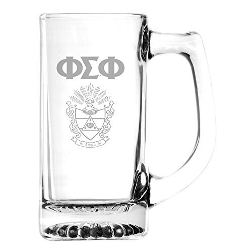 (Greekgear Phi Sigma Phi Glass Engraved Mug Transparent)
