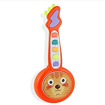 Easyflower Wonderful Musical Instruments Toy Lights Dynamic Music Ukulele Cartoon Guitar Childrens Day Gift(Orange)