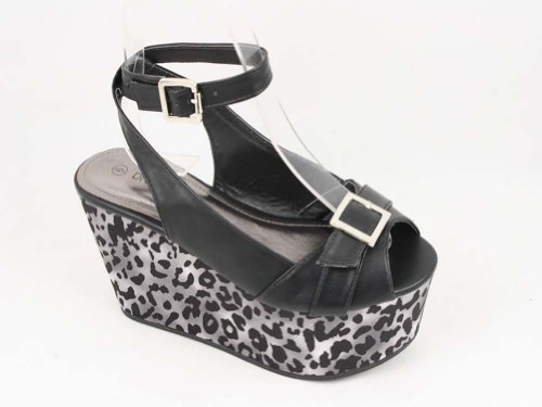 Womens Jocelyn Platform Sandal (Black Cheetah Buckle Peep Toe Flatform Wedge Vegan)
